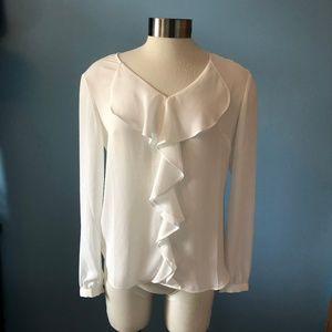 NWT Ruffle WHBM long sleeve blouse